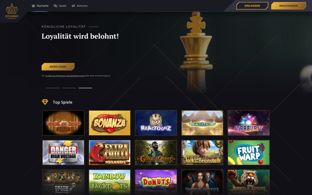 21 casino website