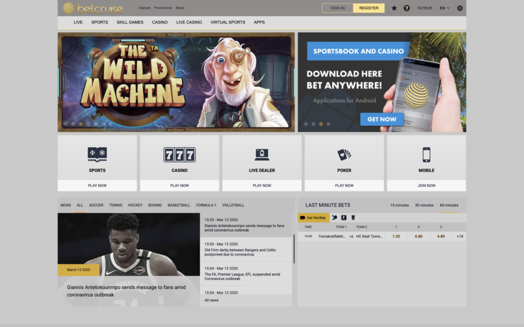 betcruise casino website