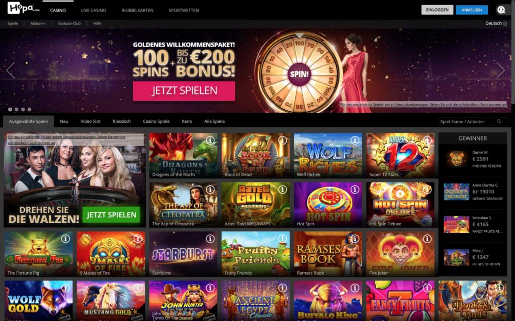 hopa casino website