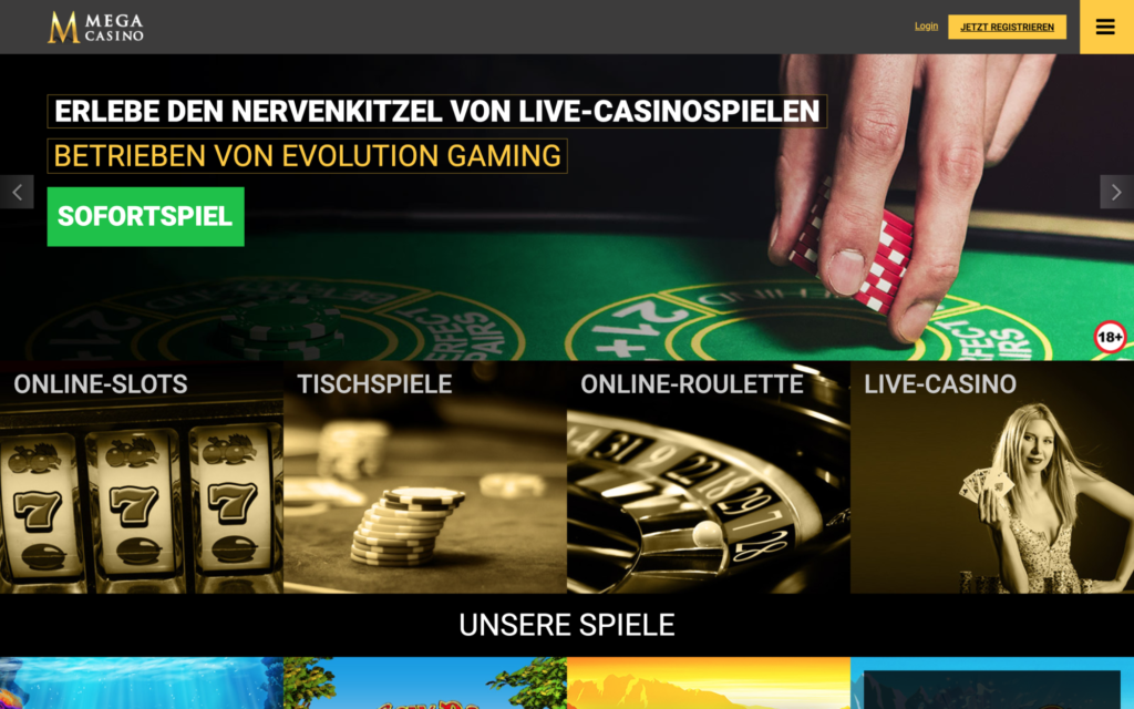 mega casino website